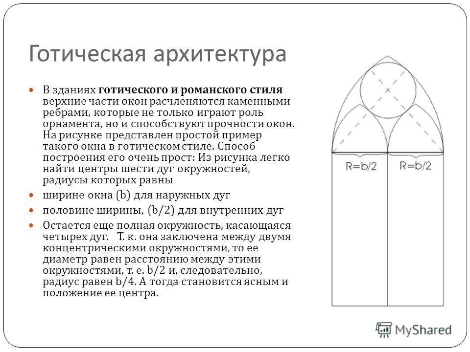Готическая архитектура В зданиях готического и ром a нского стиля верхние части окон расчленяются каменными ребрами, которые не только играют роль орнамента, но и способствуют прочности окон. На рисунке представлен простой пример такого окна в готиче