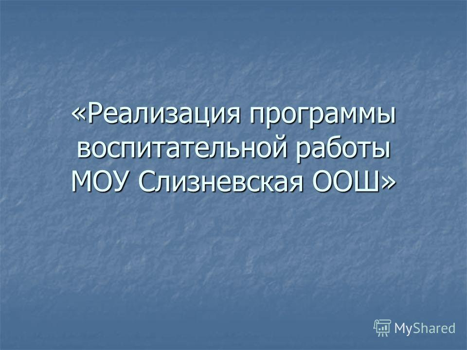 «Реализация программы воспитательной работы МОУ Слизневская ООШ»
