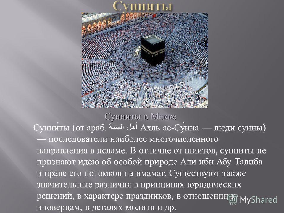 Сунниты ( от араб. أهل السنة Ахль ас - Сунна люди сунны ) последователи наиболее многочисленного направления в исламе. В отличие от шиитов, сунниты не признают идею об особой природе Али ибн Абу Талиба и праве его потомков на имамат. Существуют также
