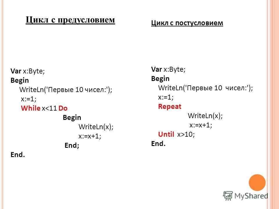 Цикл с предусловием Var x:Byte; Begin WriteLn('Первые 10 чисел:'); x:=1; While x10; End.