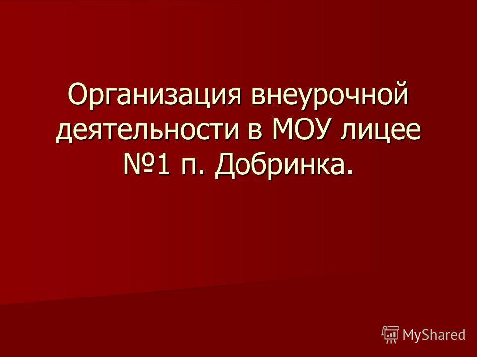Организация внеурочной деятельности в МОУ лицее 1 п. Добринка.