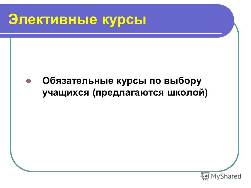 Элективные курсы Обязательные курсы по выбору учащихся (предлагаются школой)