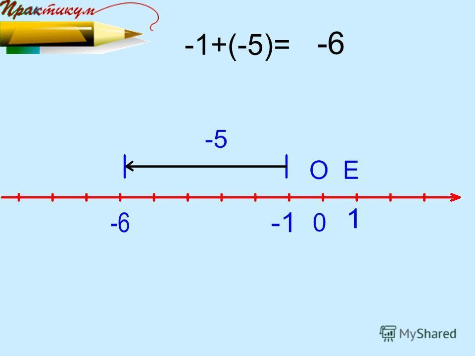 -1+(-5)= -6
