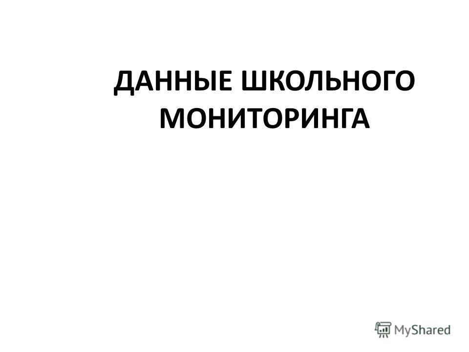 ДАННЫЕ ШКОЛЬНОГО МОНИТОРИНГА