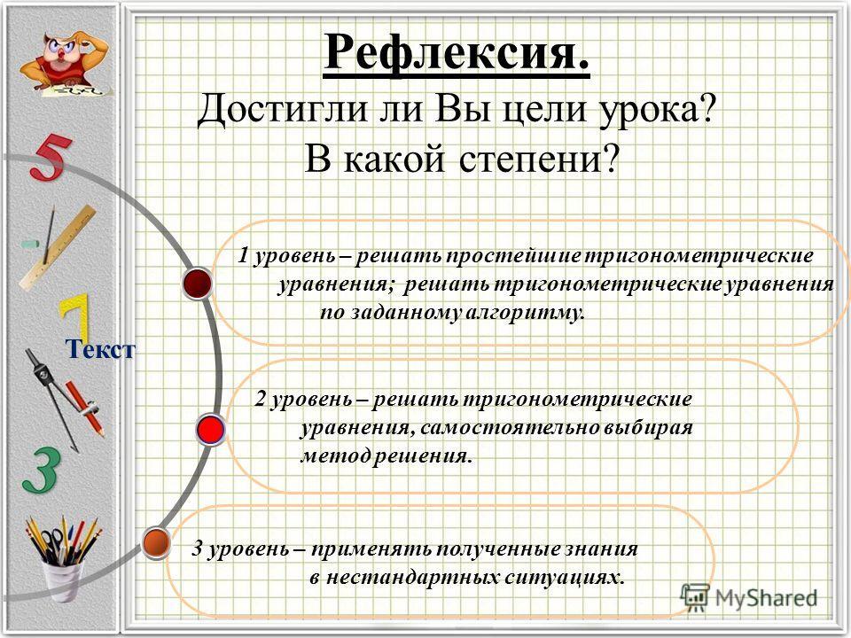 Рефлексия. Достигли ли Вы цели урока? В какой степени? 3 уровень – применять полученные знания в нестандартных ситуациях. 2 уровень – решать тригонометрические уравнения, самостоятельно выбирая метод решения. 1 уровень – решать простейшие тригонометр