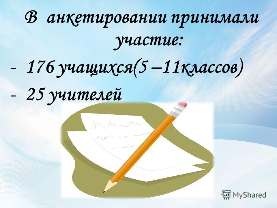 В анкетировании принимали участие: -176 учащихся(5 –11классов) -25 учителей