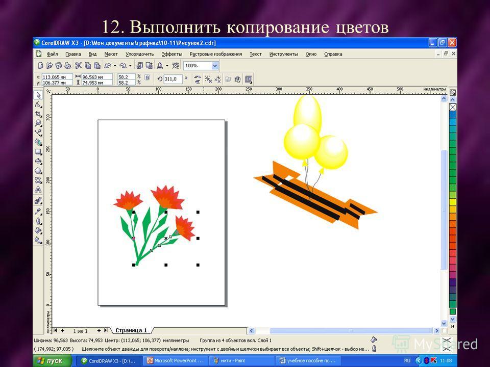 12. Выполнить копирование цветов