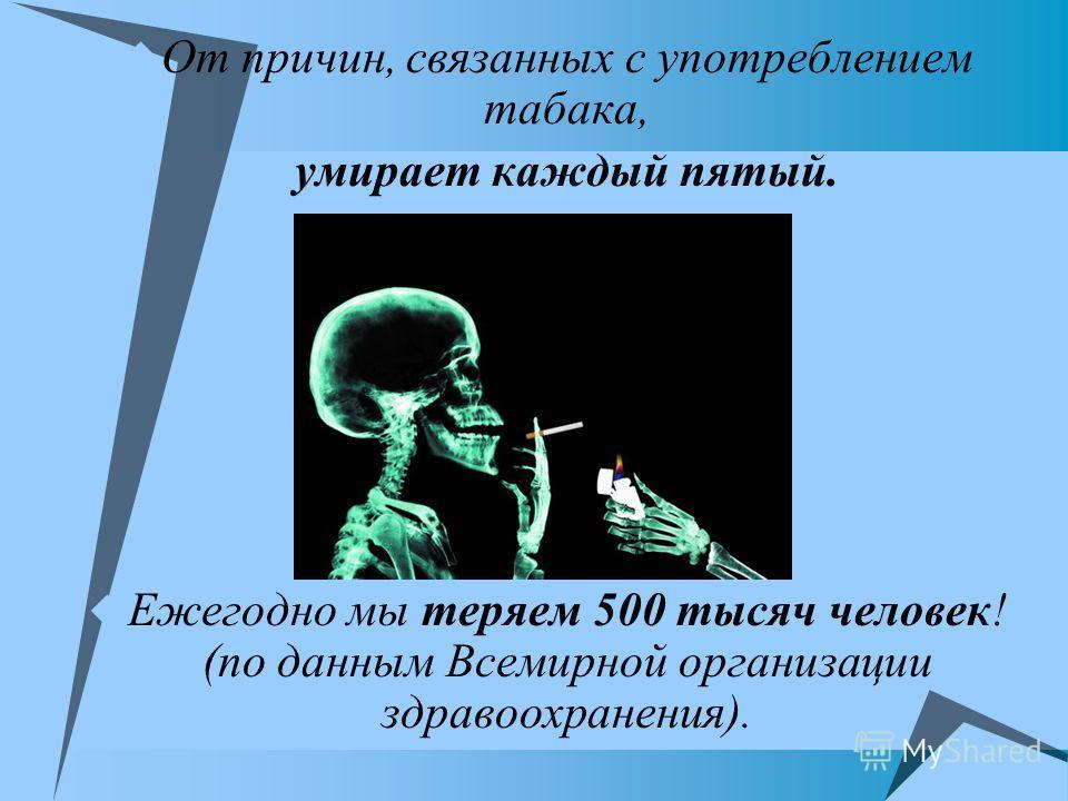 От причин, связанных с употреблением табака, умирает каждый пятый. Ежегодно мы теряем 500 тысяч человек! (по данным Всемирной организации здравоохранения).