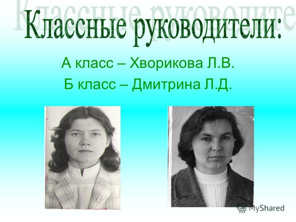 А класс – Хворикова Л.В. Б класс – Дмитрина Л.Д.
