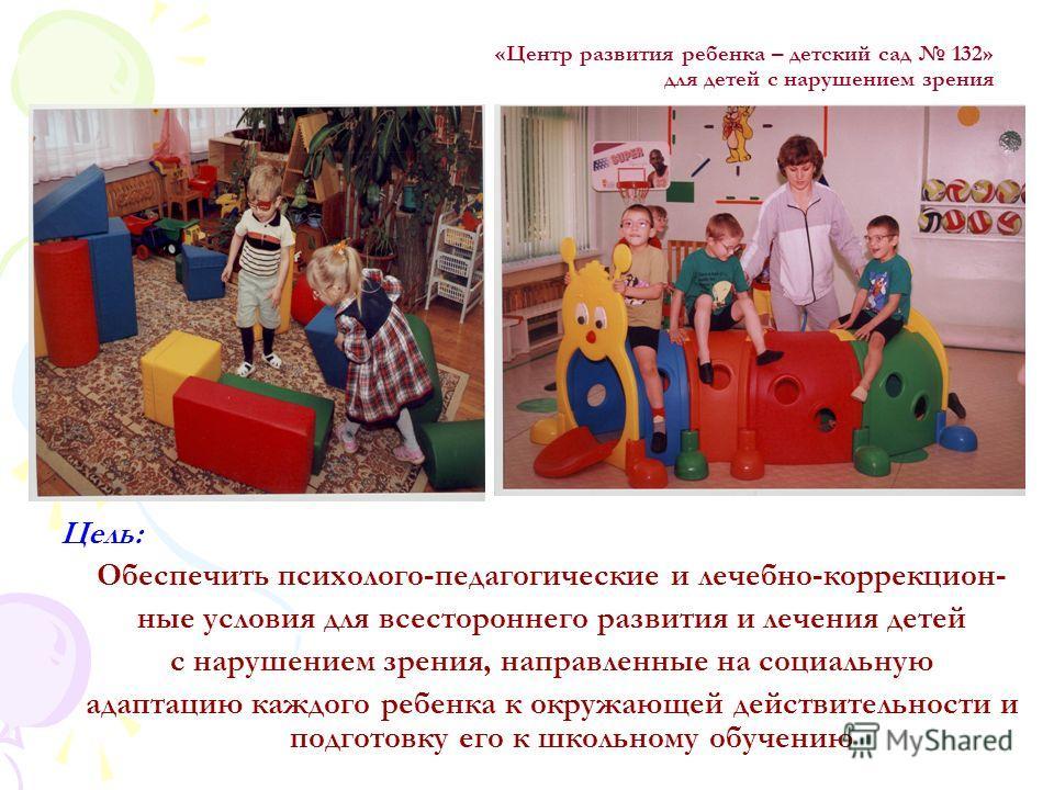 Цель: Обеспечить психолого-педагогические и лечебно-коррекцион- ные условия для всестороннего развития и лечения детей с нарушением зрения, направленные на социальную адаптацию каждого ребенка к окружающей действительности и подготовку его к школьном