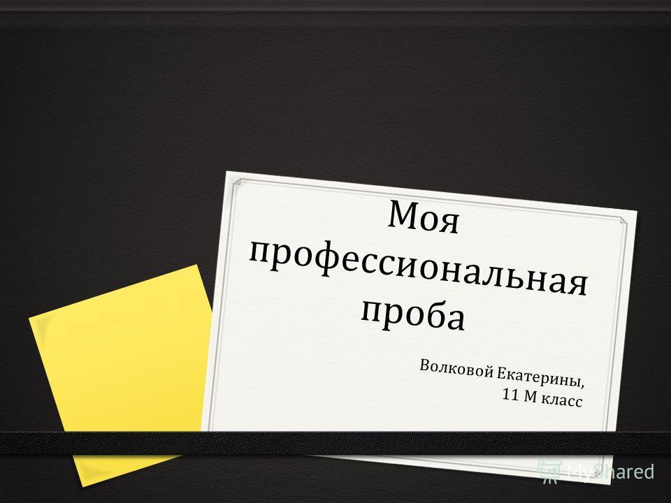 Моя профессиональная проба Волковой Екатерины, 11 М класс