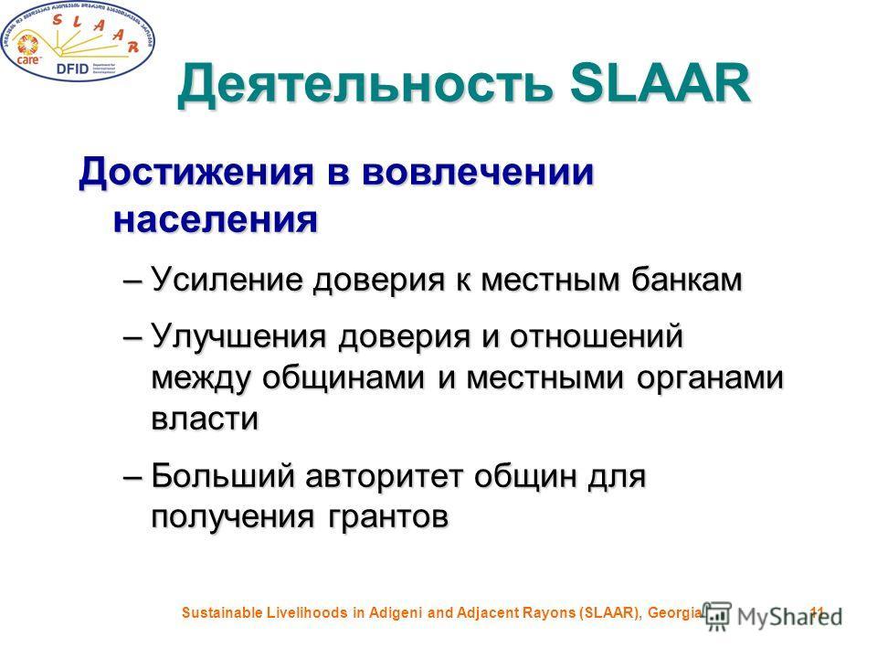 Sustainable Livelihoods in Adigeni and Adjacent Rayons (SLAAR), Georgia11 Деятельность SLAAR Достижения в вовлечении населения –Усиление доверия к местным банкам –Улучшения доверия и отношений между общинами и местными органами власти –Больший автори