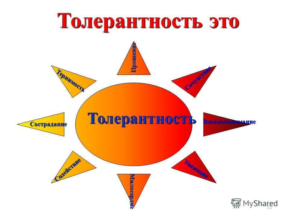 15 Толерантность Прощение Милосердие Милосердие Сострадание Терпимость Сочувствие Уважение Содействие Взаимопонимание Толерантность это