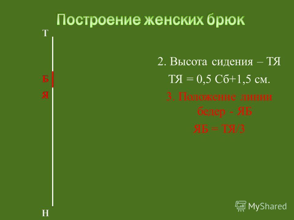 2. Высота сидения – ТЯ ТЯ = 0,5 Сб+1,5 см. 3. Положение линии бедер - ЯБ ЯБ = ТЯ/3