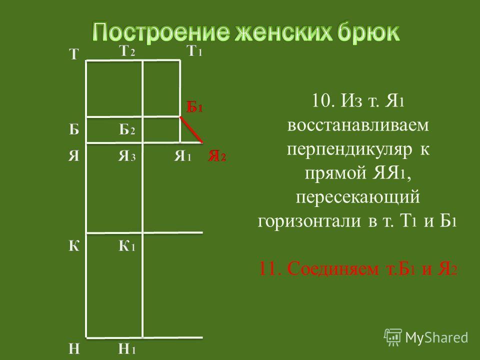 11. Соединяем т.Б 1 и Я 2
