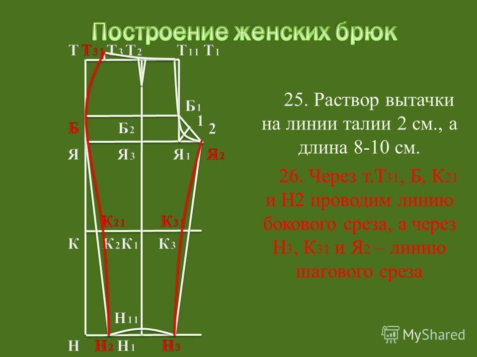 26. Через т.Т 31, Б, К 21 и Н2 проводим линию бокового среза, а через Н 3, К 31 и Я 2 – линию шагового среза