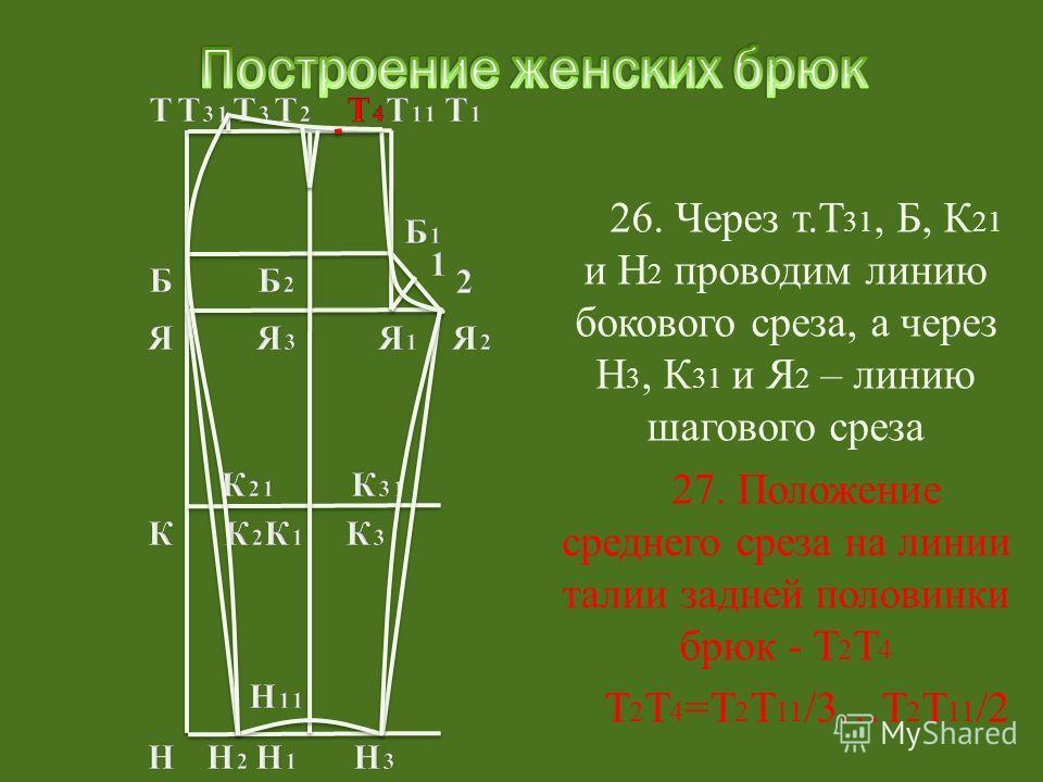27. Положение среднего среза на линии талии задней половинки брюк - Т 2 Т 4 Т 2 Т 4 =Т 2 Т 11 /3…Т 2 Т 11 /2