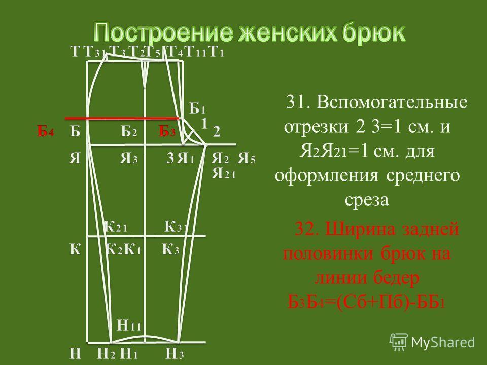 32. Ширина задней половинки брюк на линии бедер Б 3 Б 4 =(Сб+Пб)-ББ 1