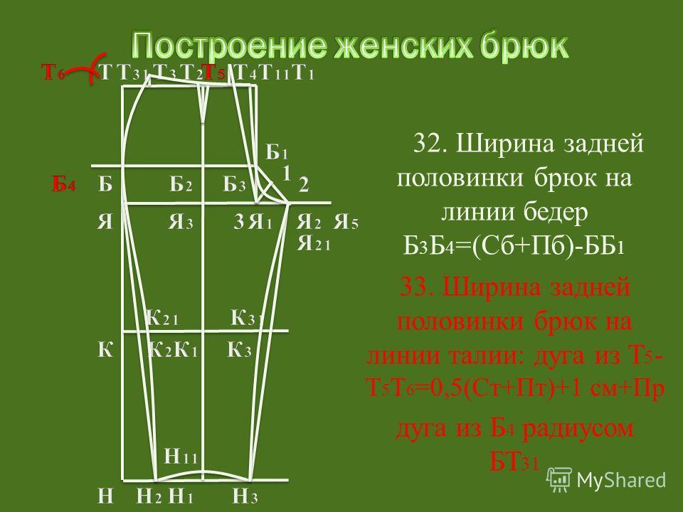 33. Ширина задней половинки брюк на линии талии: дуга из Т 5 - Т 5 Т 6 =0,5(Ст+Пт)+1 см+Пр дуга из Б 4 радиусом БТ 31