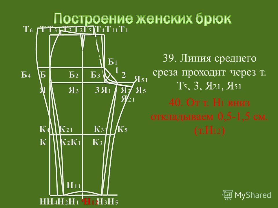 40. От т. Н 1 вниз откладываем 0,5-1,5 см. (т.Н 12 )