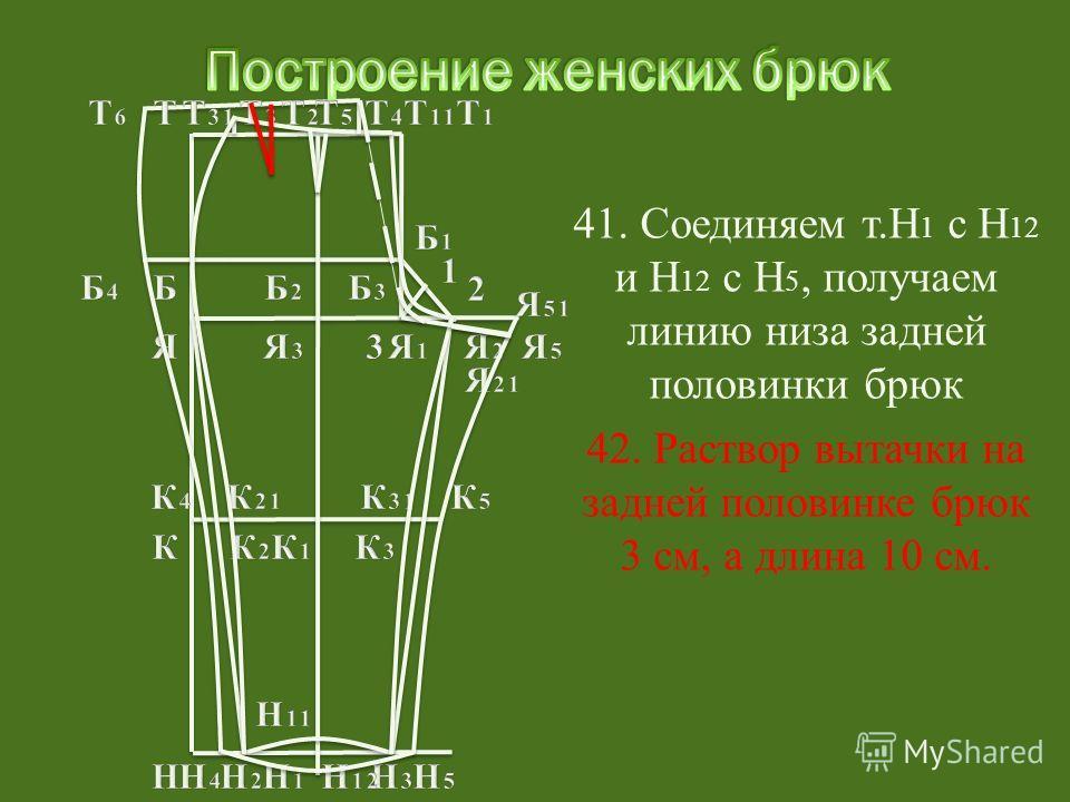 42. Раствор вытачки на задней половинке брюк 3 см, а длина 10 см.