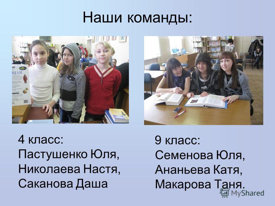 9 класс: Семенова Юля, Ананьева Катя, Макарова Таня. 4 класс: Пастушенко Юля, Николаева Настя, Саканова Даша Наши команды: