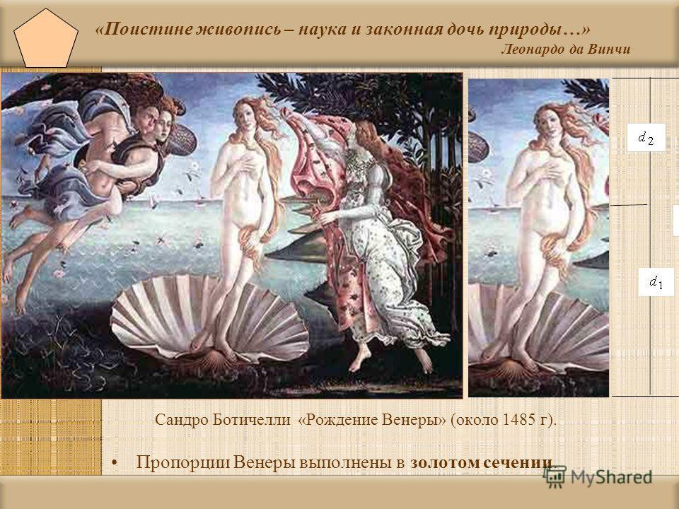 «Поистине живопись – наука и законная дочь природы…» Леонардо да Винчи Сандро Ботичелли « Рождение Венеры » ( около 1485 г ). Пропорции Венеры выполнены в золотом сечении.