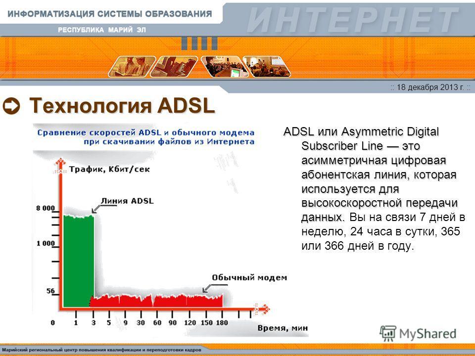 :: 18 декабря 2013 г. :: Технология ADSL ADSL или Asymmetric Digital Subscriber Line это асимметричная цифровая абонентская линия, которая используется для высокоскоростной передачи данных. ADSL или Asymmetric Digital Subscriber Line это асимметрична