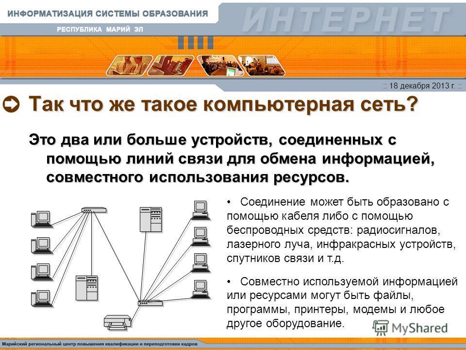 :: 18 декабря 2013 г. :: Так что же такое компьютерная сеть? Это два или больше устройств, соединенных с помощью линий связи для обмена информацией, совместного использования ресурсов. Соединение может быть образовано с помощью кабеля либо с помощью