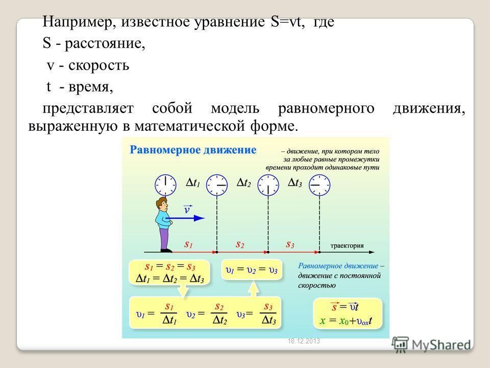 18.12.2013 Например, известное уравнение S=vt, где S - расстояние, v - скорость t - время, представляет собой модель равномерного движения, выраженную в математической форме.
