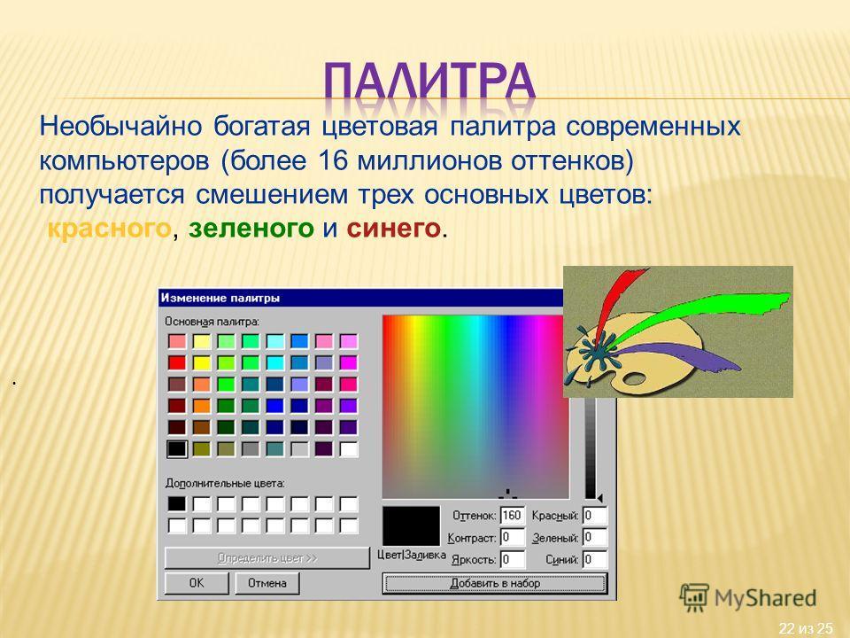 22 из 25 Необычайно богатая цветовая палитра современных компьютеров (более 16 миллионов оттенков) получается смешением трех основных цветов: красного, зеленого и синего.