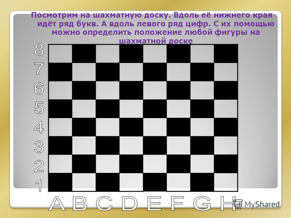 Посмотрим на шахматную доску. Вдоль её нижнего края идёт ряд букв. А вдоль левого ряд цифр. С их помощью можно определить положение любой фигуры на шахматной доске