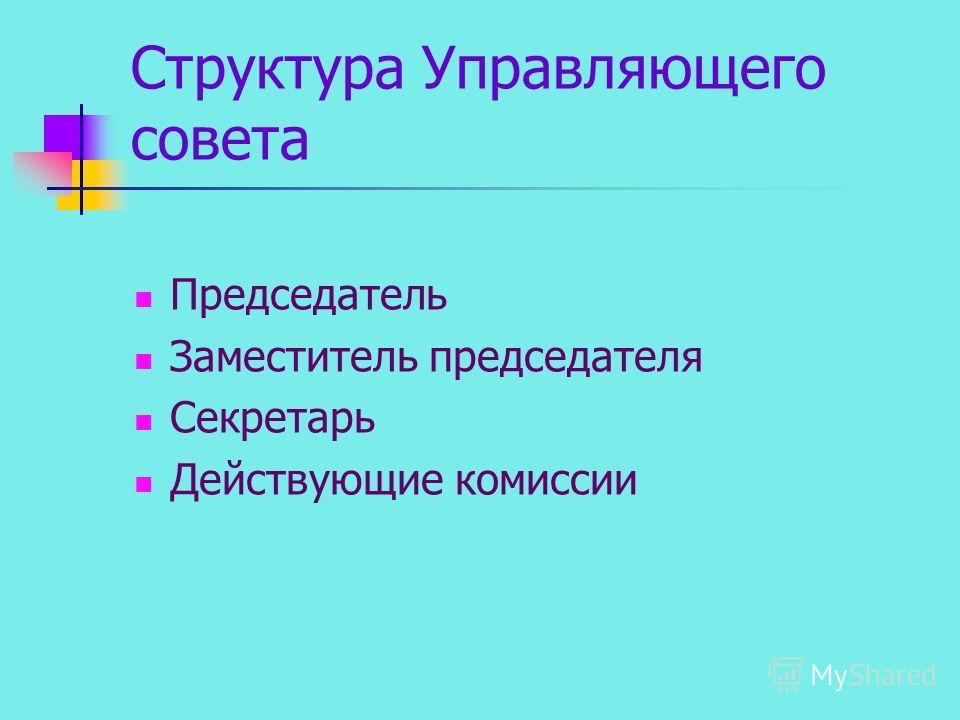 Структура Управляющего совета Председатель Заместитель председателя Секретарь Действующие комиссии