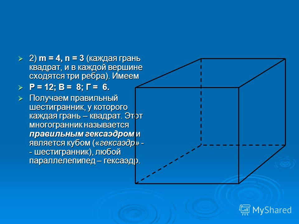 2) m = 4, n = 3 (каждая грань квадрат, и в каждой вершине сходятся три ребра). Имеем 2) m = 4, n = 3 (каждая грань квадрат, и в каждой вершине сходятся три ребра). Имеем Р = 12; В = 8; Г = 6. Р = 12; В = 8; Г = 6. Получаем правильный шестигранник, у