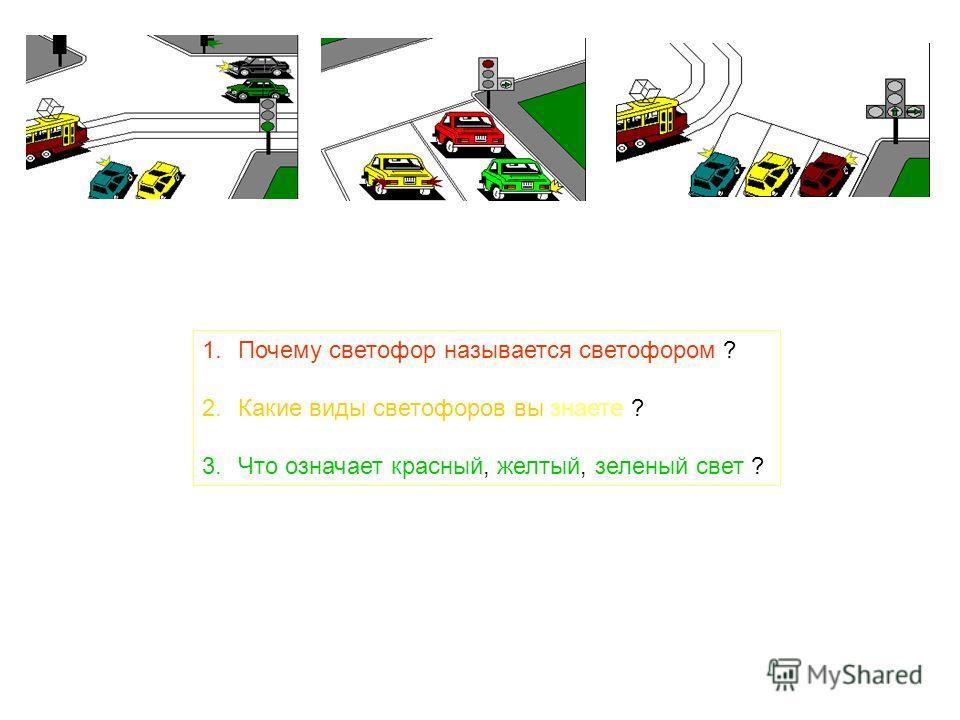 1.Почему светофор называется светофором ? 2.Какие виды светофоров вы знаете ? 3.Что означает красный, желтый, зеленый свет ?