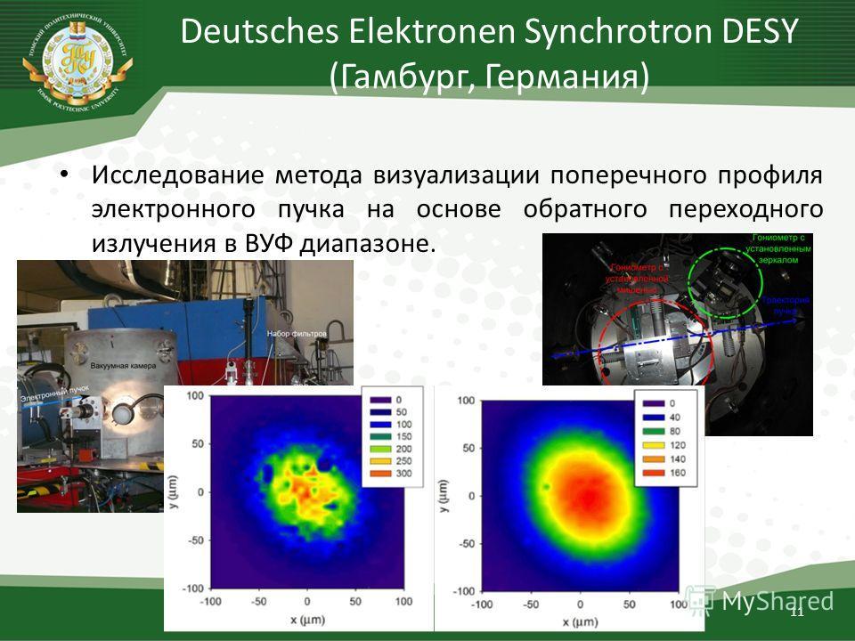 Deutsches Elektronen Synchrotron DESY (Гамбург, Германия) Исследование метода визуализации поперечного профиля электронного пучка на основе обратного переходного излучения в ВУФ диапазоне. 11