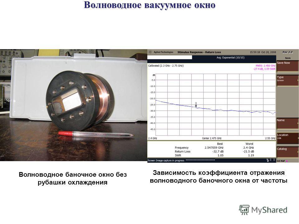 Волноводное вакуумное окно Волноводное баночное окно без рубашки охлаждения Зависимость коэффициента отражения волноводного баночного окна от частоты