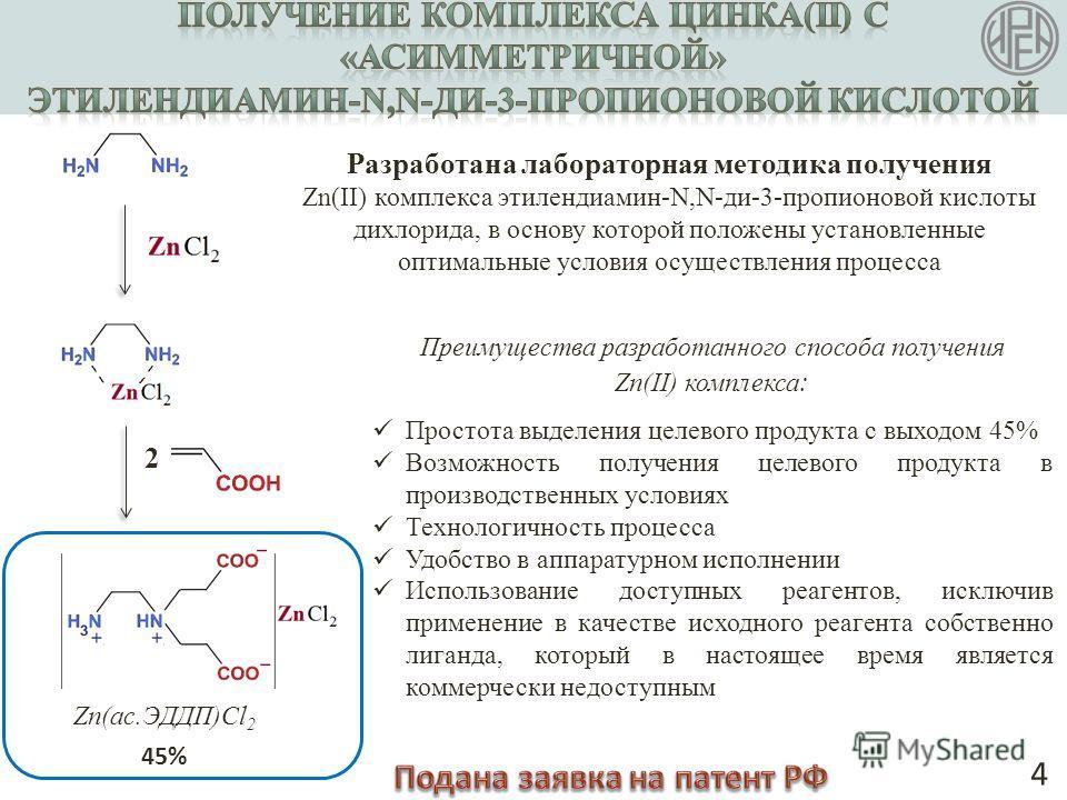 2 4 Разработана лабораторная методика получения Zn(II) комплекса этилендиамин-N,N-ди-3-пропионовой кислоты дихлорида, в основу которой положены установленные оптимальные условия осуществления процесса Преимущества разработанного способа получения Zn(