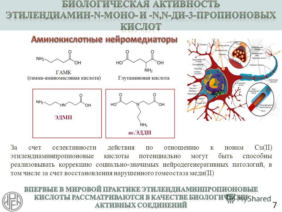 7 За счет селективности действия по отношению к ионам Cu(II) этилендиаминпропионовые кислоты потенциально могут быть способны реализовывать коррекцию социально-значимых нейродегенеративных патологий, в том числе за счет восстановления нарушенного гом