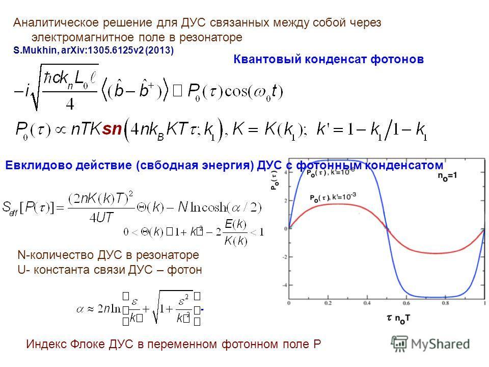 Аналитическое решение для ДУС связанных между собой через электромагнитное поле в резонаторе S.Mukhin, arXiv:1305.6125v2 (2013) Квантовый конденсат фотонов Евклидово действие (свбодная энергия) ДУС с фотонным конденсатом N-количество ДУС в резонаторе