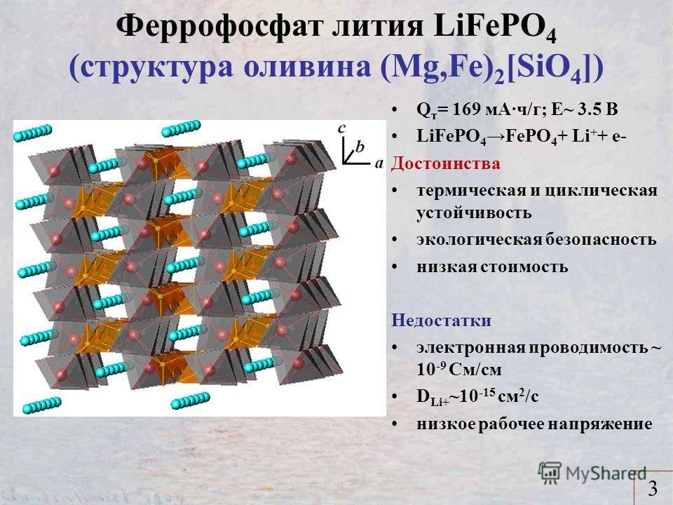 Феррофосфат лития LiFePO 4 (структура оливина (Mg,Fe) 2 [SiO 4 ]) 3 Q т = 169 мA·ч/г; Е~ 3.5 В LiFePO 4 FePO 4 + Li + + e- Достоинства термическая и циклическая устойчивость экологическая безопасность низкая стоимость Недостатки электронная проводимо