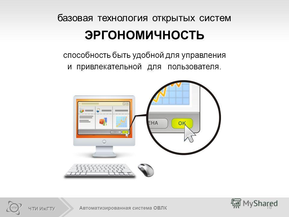 18 способность быть удобной для управления и привлекательной для пользователя. базовая технология открытых систем ЭРГОНОМИЧНОСТЬ