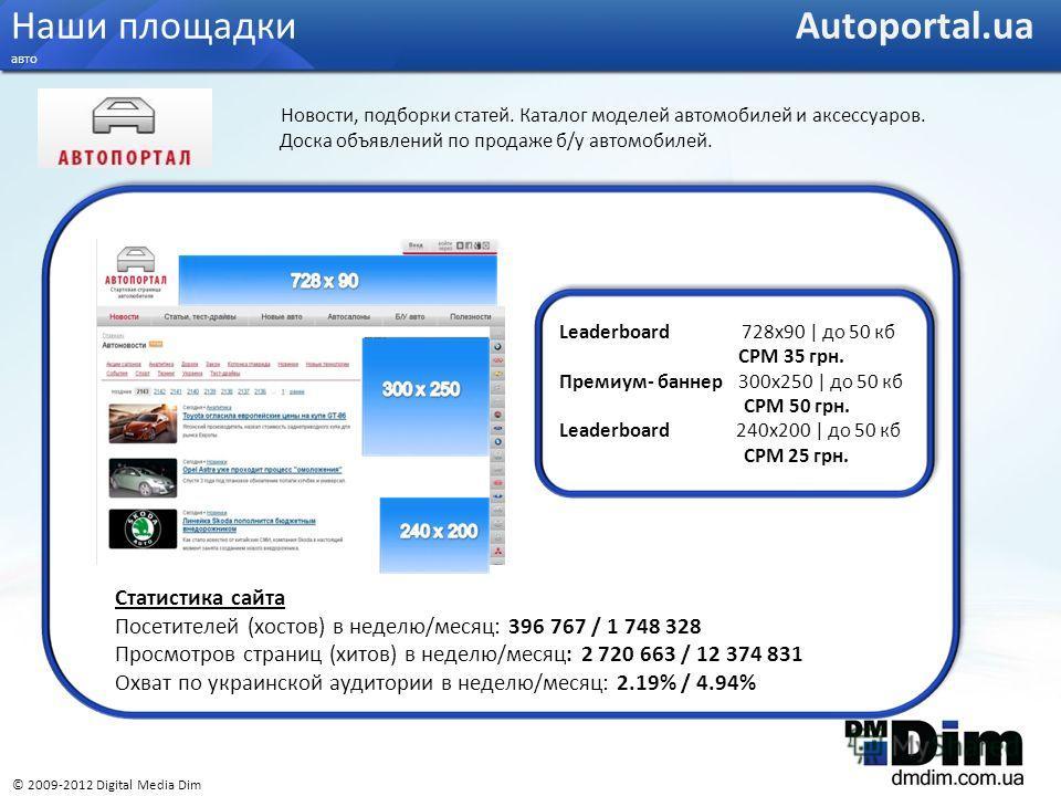 Статистика сайта Посетителей (хостов) в неделю/месяц: 396 767 / 1 748 328 Просмотров страниц (хитов) в неделю/месяц: 2 720 663 / 12 374 831 Охват по украинской аудитории в неделю/месяц: 2.19% / 4.94% Leaderboard 728x90 | до 50 кб CPM 35 грн. Премиум-