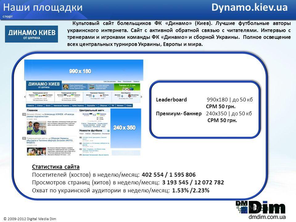 Статистика сайта Посетителей (хостов) в неделю/месяц: 402 554 / 1 595 806 Просмотров страниц (хитов) в неделю/месяц: 3 193 545 / 12 072 782 Охват по украинской аудитории в неделю/месяц: 1.53% /2.23% Leaderboard 990x180 | до 50 кб CPM 50 грн. Премиум-