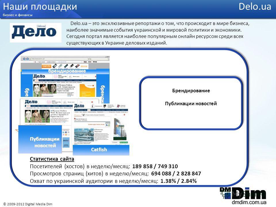 Статистика сайта Посетителей (хостов) в неделю/месяц: 189 858 / 749 310 Просмотров страниц (хитов) в неделю/месяц: 694 088 / 2 828 847 Охват по украинской аудитории в неделю/месяц: 1.38% / 2.84% Брендирование Публикации новостей Наши площадки Delo.ua