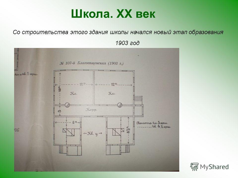 Школа. XX век Со строительства этого здания школы начался новый этап образования 1903 год