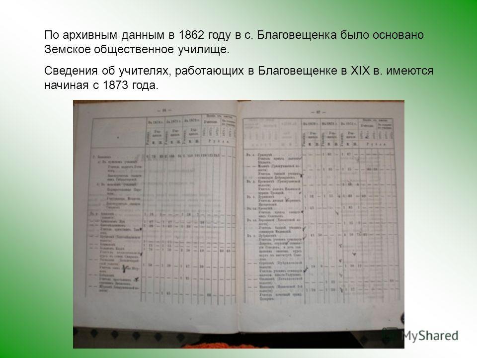 По архивным данным в 1862 году в с. Благовещенка было основано Земское общественное училище. Сведения об учителях, работающих в Благовещенке в ХIХ в. имеются начиная с 1873 года.
