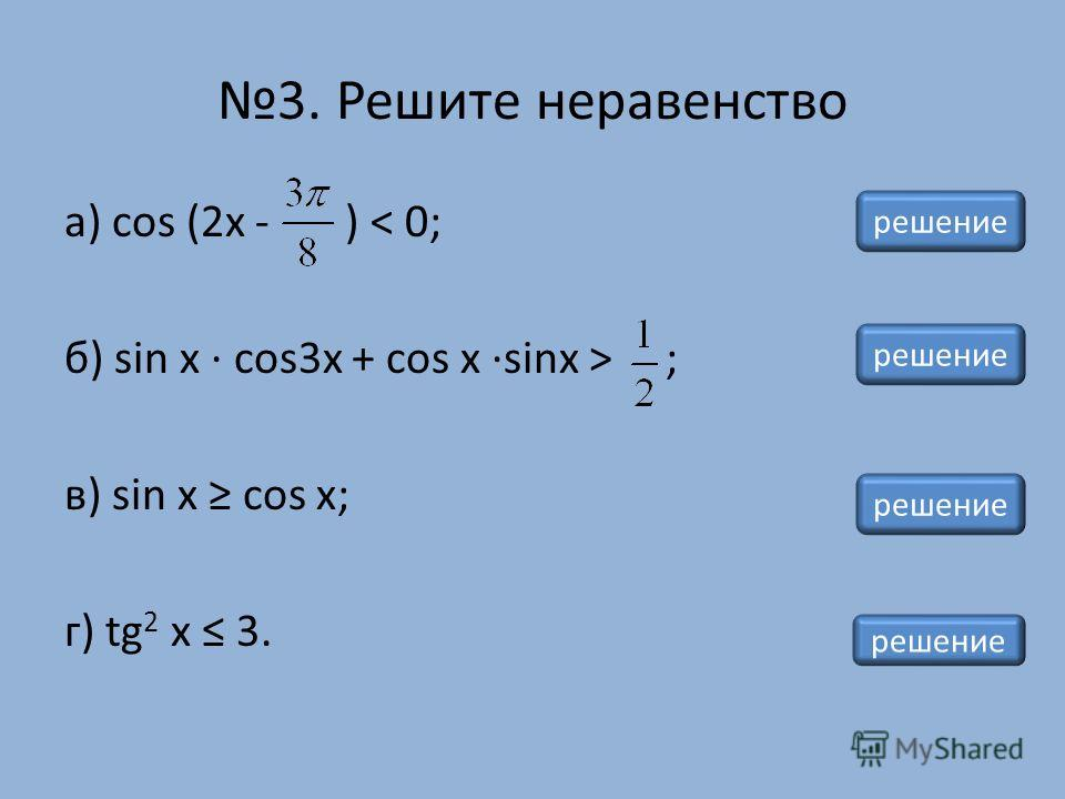 а) cos (2x - ) < 0; б) sin x · cos3x + cos x ·sinx > ; в) sin x cos x; г) tg 2 x 3. 3. Решите неравенство решение