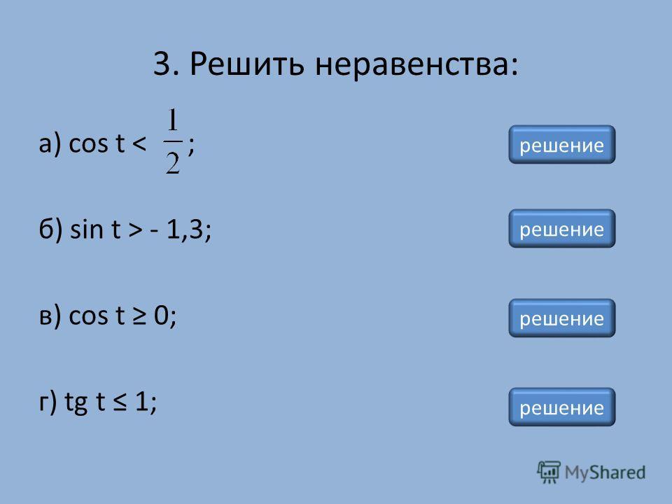 3. Решить неравенства: а) cos t < ; б) sin t > - 1,3; в) cos t 0; г) tg t 1; решение