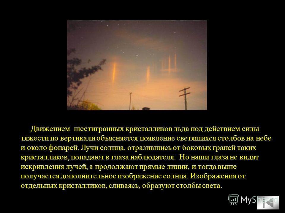 Движением шестигранных кристалликов льда под действием силы тяжести по вертикали объясняется появление светящихся столбов на небе и около фонарей. Лучи солнца, отразившись от боковых граней таких кристалликов, попадают в глаза наблюдателя. Но наши гл